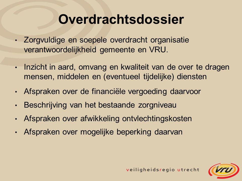 Overdrachtsdossier Zorgvuldige en soepele overdracht organisatie verantwoordelijkheid gemeente en VRU. Inzicht in aard, omvang en kwaliteit van de ove