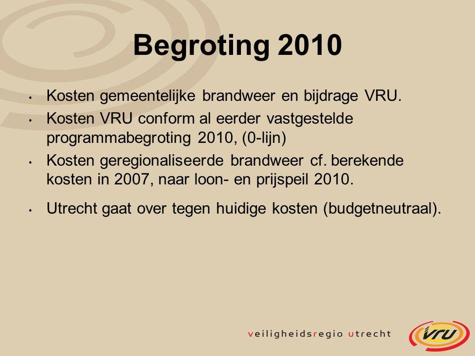 Begroting 2010 Kosten gemeentelijke brandweer en bijdrage VRU. Kosten VRU conform al eerder vastgestelde programmabegroting 2010, (0-lijn) Kosten gere