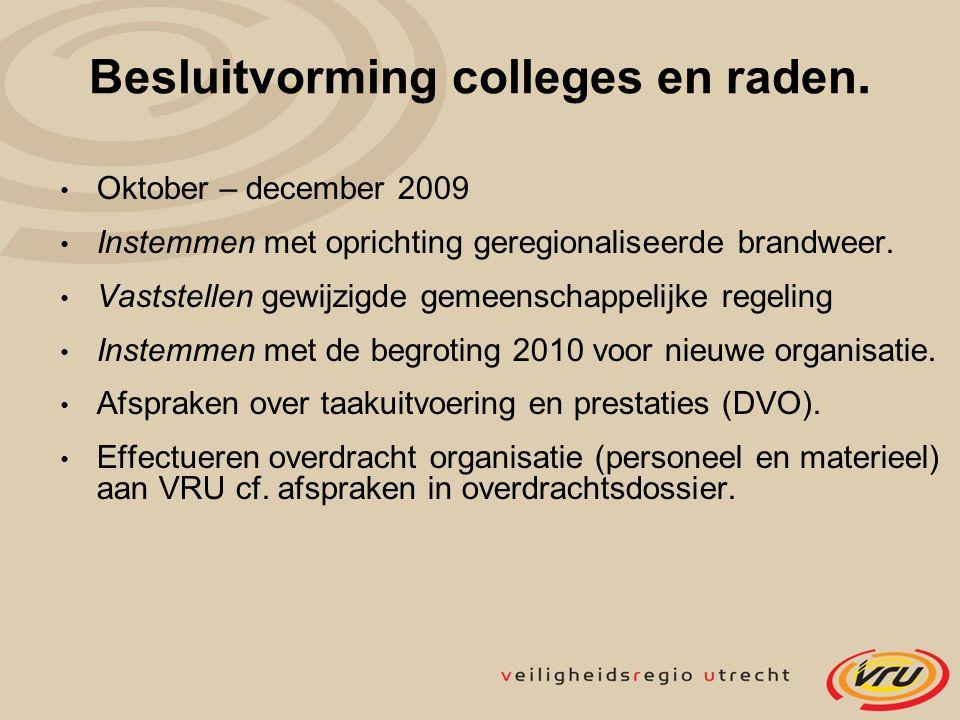 Besluitvorming colleges en raden. Oktober – december 2009 Instemmen met oprichting geregionaliseerde brandweer. Vaststellen gewijzigde gemeenschappeli