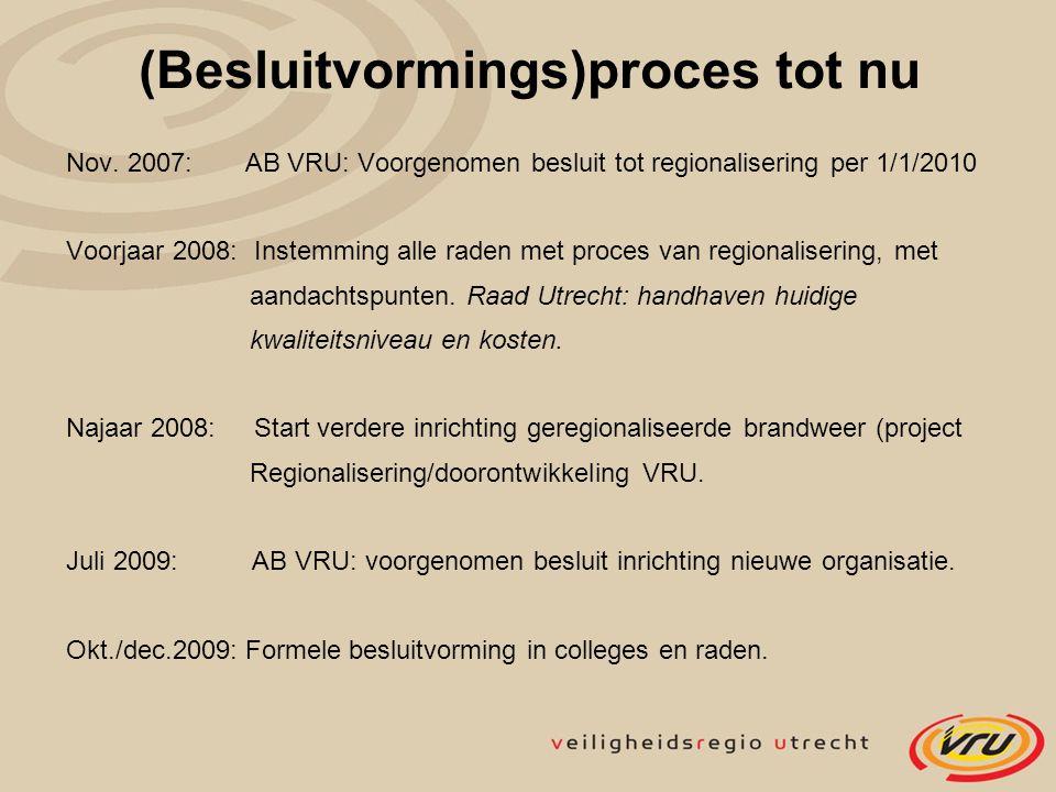 (Besluitvormings)proces tot nu Nov. 2007: AB VRU: Voorgenomen besluit tot regionalisering per 1/1/2010 Voorjaar 2008: Instemming alle raden met proces