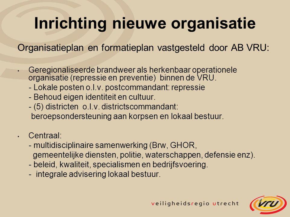Inrichting nieuwe organisatie Organisatieplan en formatieplan vastgesteld door AB VRU: Geregionaliseerde brandweer als herkenbaar operationele organis