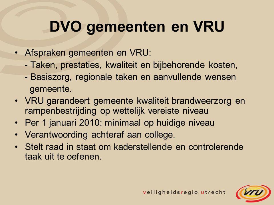 DVO gemeenten en VRU Afspraken gemeenten en VRU: - Taken, prestaties, kwaliteit en bijbehorende kosten, - Basiszorg, regionale taken en aanvullende we
