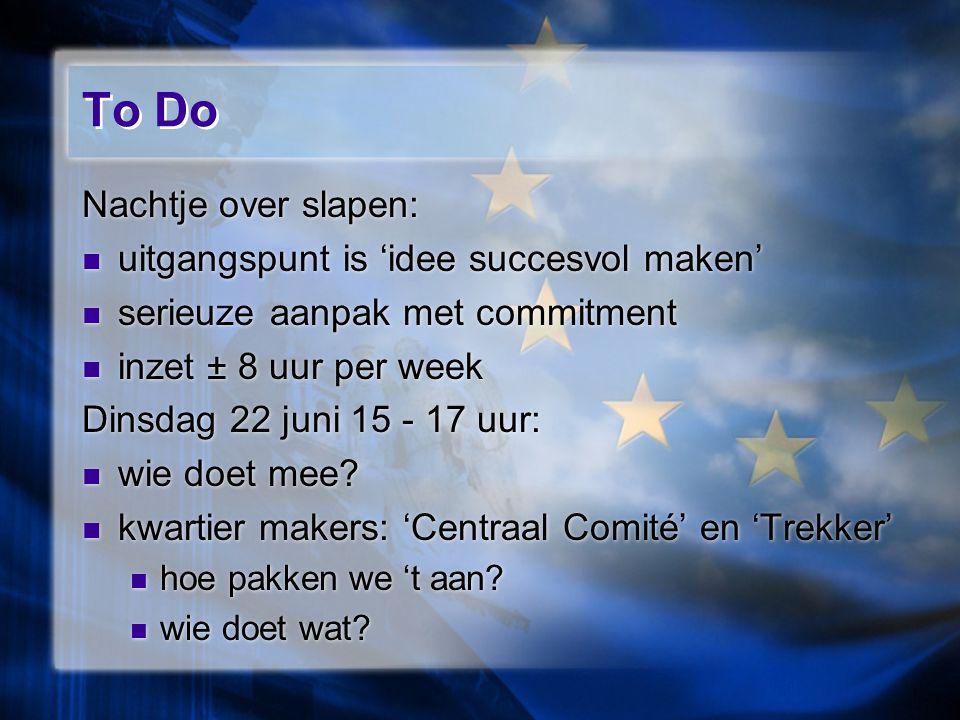 To Do Nachtje over slapen: uitgangspunt is 'idee succesvol maken' serieuze aanpak met commitment inzet ± 8 uur per week Dinsdag 22 juni 15 - 17 uur: wie doet mee.