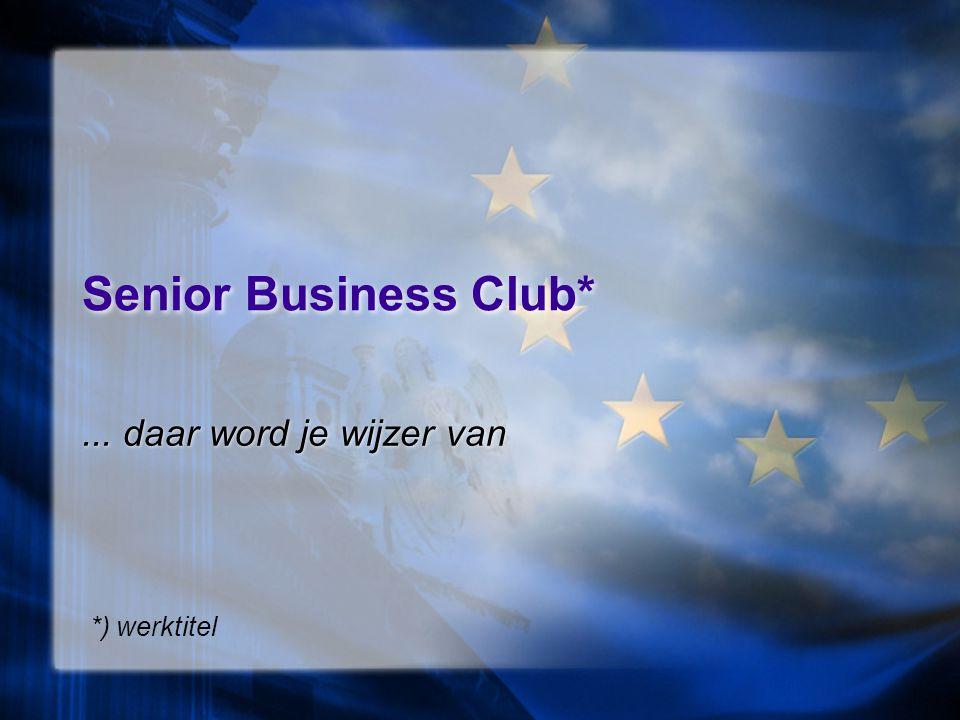 Dienstverlening Senior Business Club ondersteunt de ontmoeting van 50 + talenten en bevordert de performance van 50 + talenten in of buiten werk.
