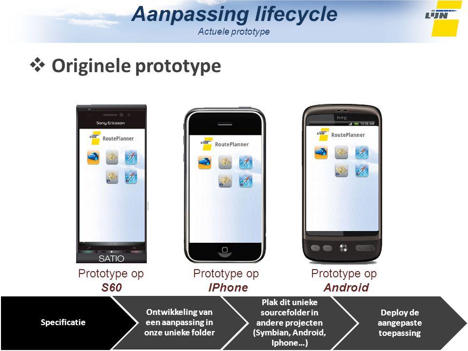 Aanpassing lifecycle Actuele prototype Prototype op S60 Prototype op IPhone Prototype op Android Specificatie Ontwikkeling van een aanpassing in onze unieke folder Plak dit unieke sourcefolder in andere projecten (Symbian, Android, Iphone…) Deploy de aangepaste toepassing  Originele prototype