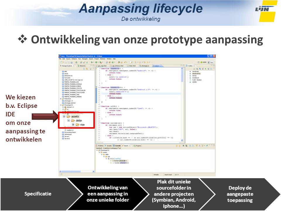 Aanpassing lifecycle De ontwikkeling Specificatie Ontwikkeling van een aanpassing in onze unieke folder Plak dit unieke sourcefolder in andere projecten (Symbian, Android, Iphone…) Deploy de aangepaste toepassing We kiezen b.v.