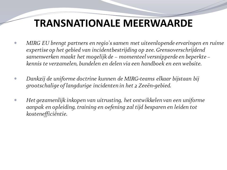 TRANSNATIONALE MEERWAARDE MIRG EU brengt partners en regio's samen met uiteenlopende ervaringen en ruime expertise op het gebied van incidentbestrijdi
