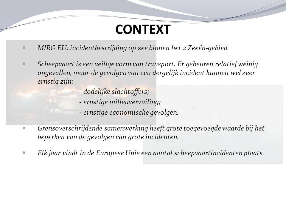 MIRG EU: incidentbestrijding op zee binnen het 2 Zeeën-gebied. Scheepvaart is een veilige vorm van transport. Er gebeuren relatief weinig ongevallen,