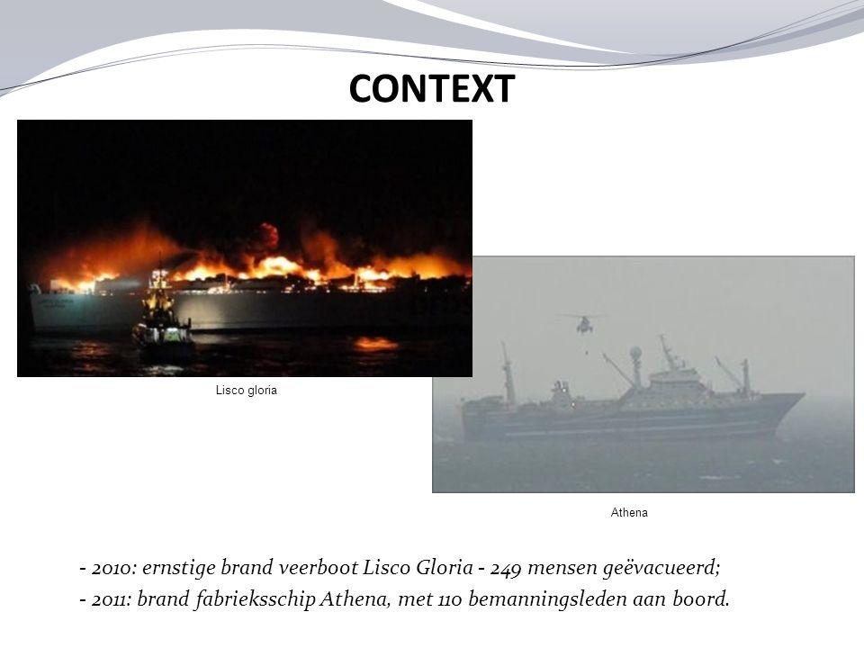 Lisco gloria Athena - 2010: ernstige brand veerboot Lisco Gloria - 249 mensen geëvacueerd; - 2011: brand fabrieksschip Athena, met 110 bemanningsleden