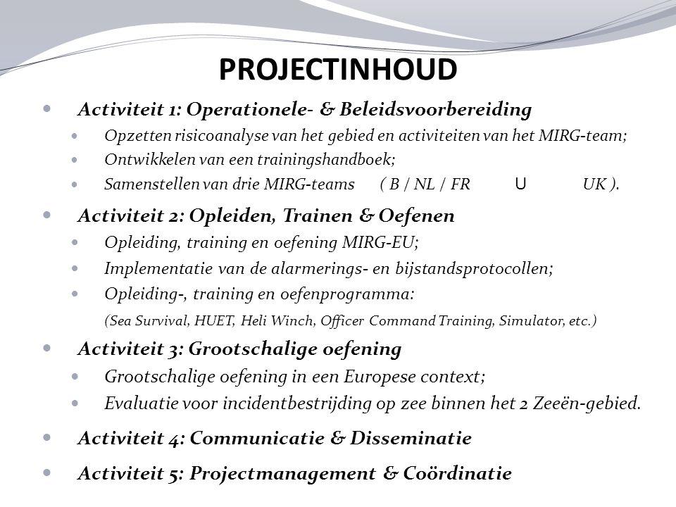 PROJECTINHOUD Activiteit 1: Operationele- & Beleidsvoorbereiding Opzetten risicoanalyse van het gebied en activiteiten van het MIRG-team; Ontwikkelen