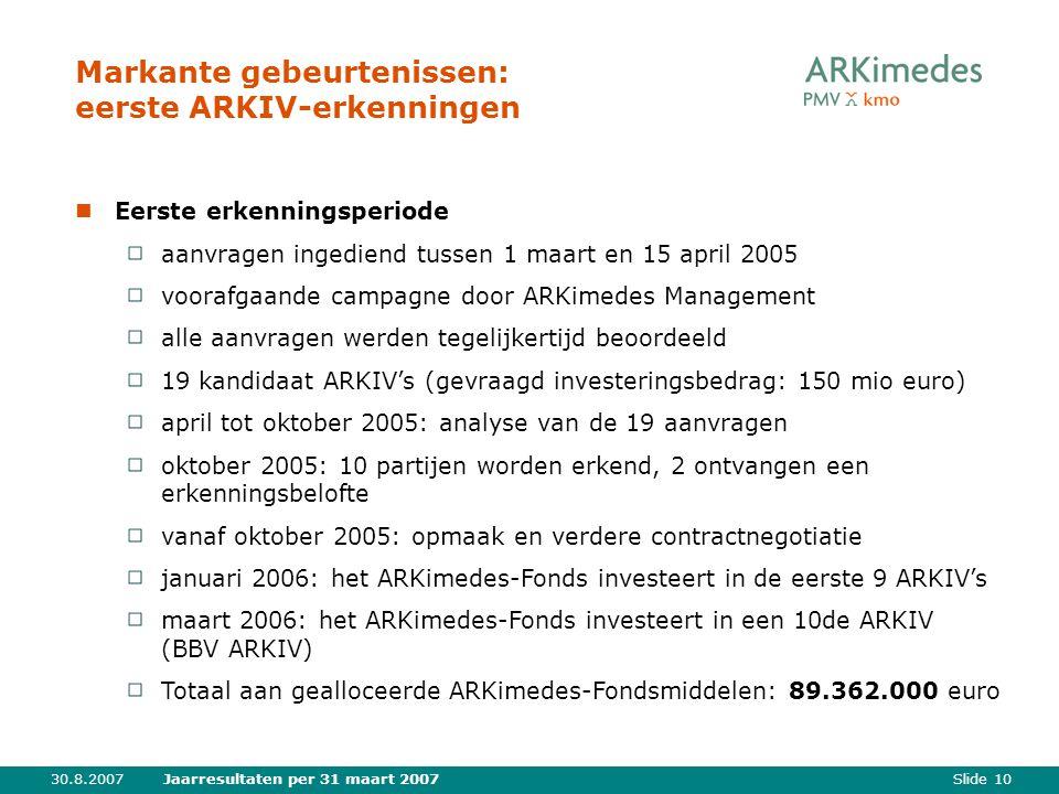 Slide 1030.8.2007Jaarresultaten per 31 maart 2007 Markante gebeurtenissen: eerste ARKIV-erkenningen Eerste erkenningsperiode aanvragen ingediend tussen 1 maart en 15 april 2005 voorafgaande campagne door ARKimedes Management alle aanvragen werden tegelijkertijd beoordeeld 19 kandidaat ARKIV's (gevraagd investeringsbedrag: 150 mio euro) april tot oktober 2005: analyse van de 19 aanvragen oktober 2005: 10 partijen worden erkend, 2 ontvangen een erkenningsbelofte vanaf oktober 2005: opmaak en verdere contractnegotiatie januari 2006: het ARKimedes-Fonds investeert in de eerste 9 ARKIV's maart 2006: het ARKimedes-Fonds investeert in een 10de ARKIV (BBV ARKIV) Totaal aan gealloceerde ARKimedes-Fondsmiddelen: 89.362.000 euro