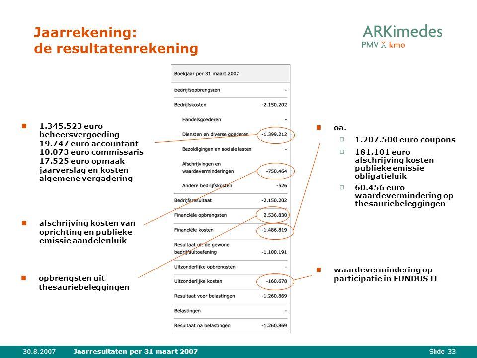 Slide 3330.8.2007Jaarresultaten per 31 maart 2007 Jaarrekening: de resultatenrekening oa.