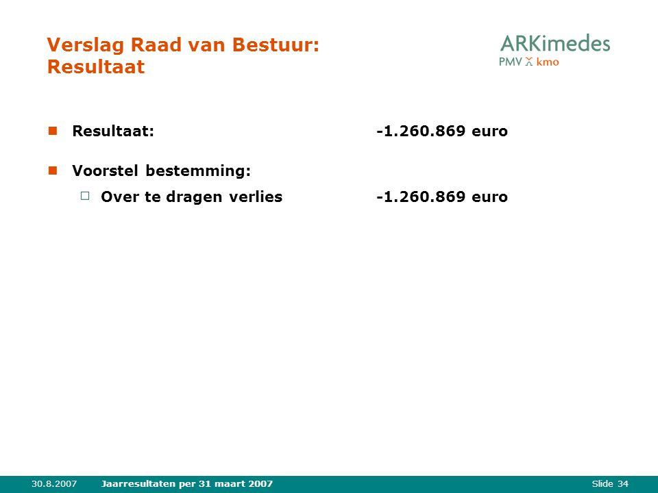 Slide 3430.8.2007Jaarresultaten per 31 maart 2007 Verslag Raad van Bestuur: Resultaat Resultaat:-1.260.869 euro Voorstel bestemming: Over te dragen ve