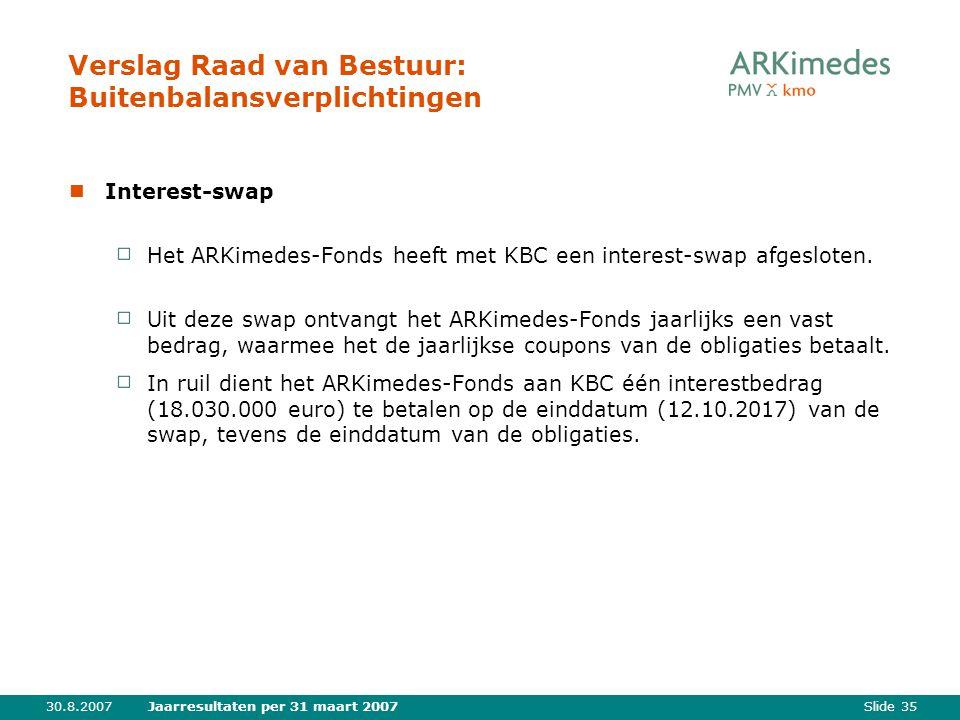 Slide 3530.8.2007Jaarresultaten per 31 maart 2007 Verslag Raad van Bestuur: Buitenbalansverplichtingen Interest-swap Het ARKimedes-Fonds heeft met KBC een interest-swap afgesloten.