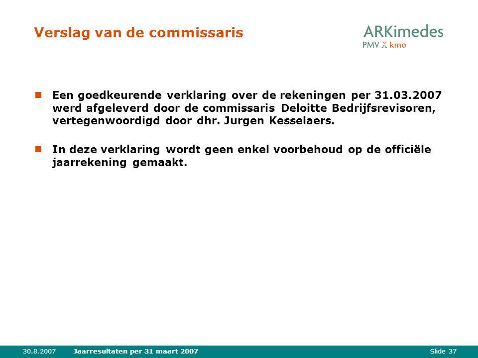 Slide 3730.8.2007Jaarresultaten per 31 maart 2007 Verslag van de commissaris Een goedkeurende verklaring over de rekeningen per 31.03.2007 werd afgeleverd door de commissaris Deloitte Bedrijfsrevisoren, vertegenwoordigd door dhr.