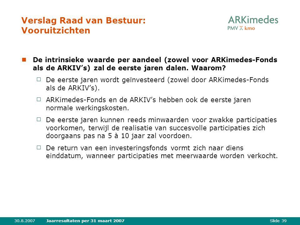 Slide 3930.8.2007Jaarresultaten per 31 maart 2007 Verslag Raad van Bestuur: Vooruitzichten De intrinsieke waarde per aandeel (zowel voor ARKimedes-Fonds als de ARKIV's) zal de eerste jaren dalen.
