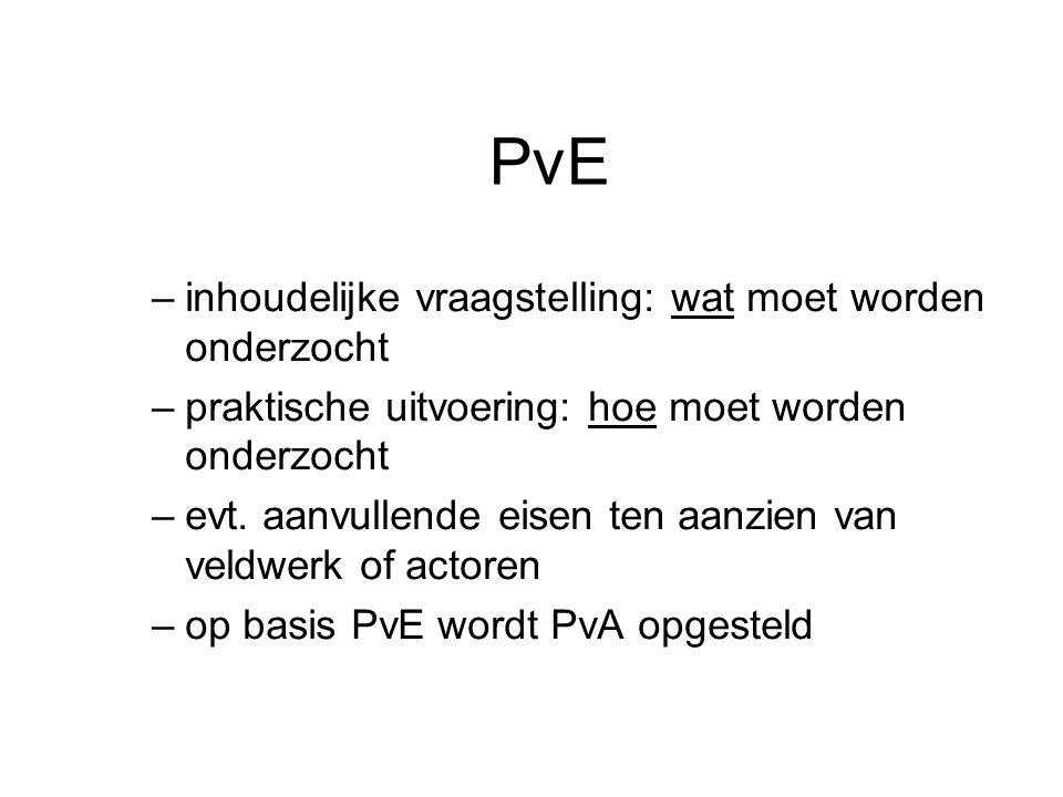 PvE –inhoudelijke vraagstelling: wat moet worden onderzocht –praktische uitvoering: hoe moet worden onderzocht –evt. aanvullende eisen ten aanzien van