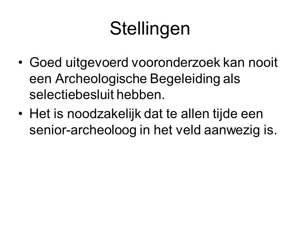 Stellingen Goed uitgevoerd vooronderzoek kan nooit een Archeologische Begeleiding als selectiebesluit hebben. Het is noodzakelijk dat te allen tijde e