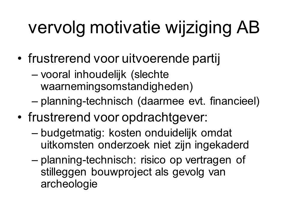vervolg motivatie wijziging AB frustrerend voor uitvoerende partij –vooral inhoudelijk (slechte waarnemingsomstandigheden) –planning-technisch (daarme