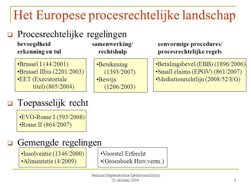 Seminar Implementatie Mediationrichtlijn 21 oktober 2009 4 Het Europese procesrechtelijke landschap  Procesrechtelijke regelingen bevoegdheid samenwerking/eenvormige procedures/ erkenning en tul rechtshulpprocesrechtelijke regels  Toepasselijk recht  Gemengde regelingen Brussel I (44/2001) Brussel IIbis (2201/2003) EET (Executoriale titel) (805/2004) Betekening (1393/2007) Bewijs (1206/2003) Betalingsbevel (EBB) (1896/2006) Small claims (EPGV) (861/2007) Mediationrichtlijn (2008/52/EG) EVO-Rome I (593/2008) Rome II (864/2007) Insolventie (1346/2000) Alimentatie (4/2009) Voorstel Erfrecht (Groenboek Huw.verm.)