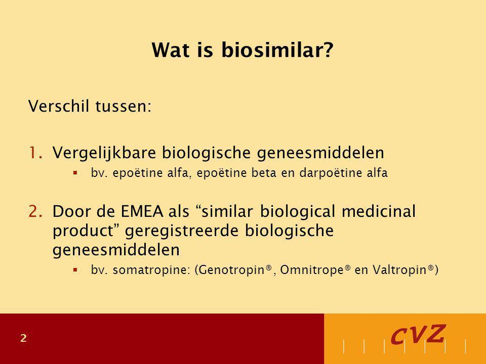 2 Wat is biosimilar? Verschil tussen: 1.Vergelijkbare biologische geneesmiddelen  bv. epoëtine alfa, epoëtine beta en darpoëtine alfa 2.Door de EMEA
