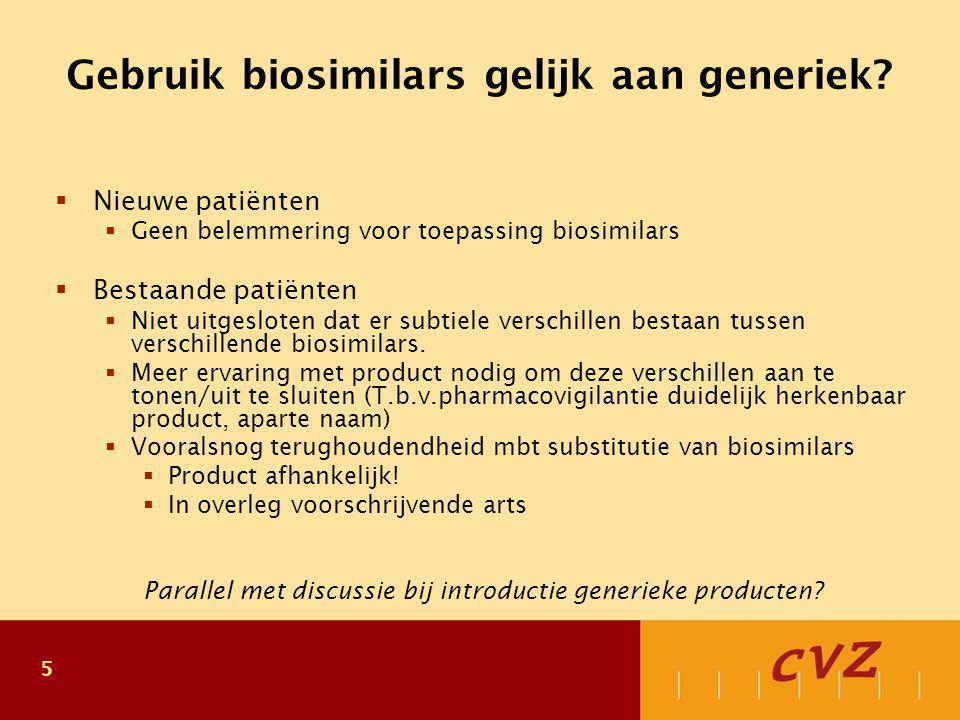 6 Plaats biosimilars Nieuwe geneesmiddelen zouden therapeutisch en/of economisch voordeel moeten bieden  Vanuit economisch perspectief hebben biosimilars eenzelfde rol als generieken:  Biosimilars bieden geen therapeutisch voordeel.