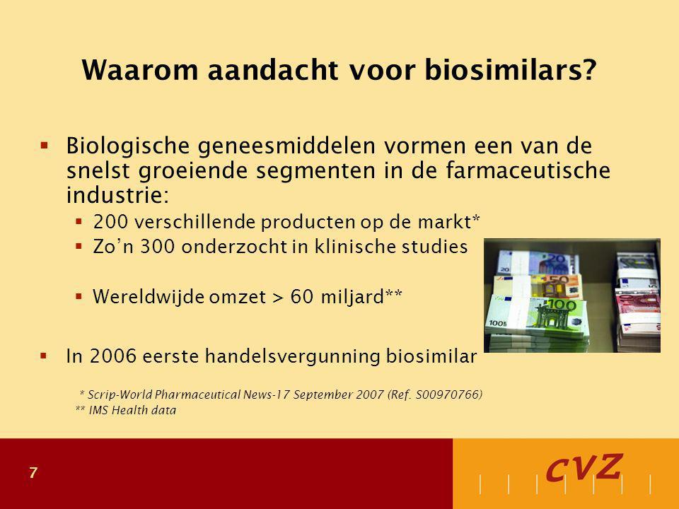 8 Biologische geneesmiddelen in Nederland Belangrijke groepen biologische geneesmiddelen: Groep:Totale extramurale kosten in Nederland (2006)  Groeihormonen€ 45 miljoen  TNF-alfa blokkers€ 130 miljoen  Interferonen€ 60 miljoen  Erytropoëtinen*€ 70 miljoen  Insulines€ 140 miljoen  Koloniestimulerende factoren € 30 miljoen  Monoclonale antilichamen (m.n.