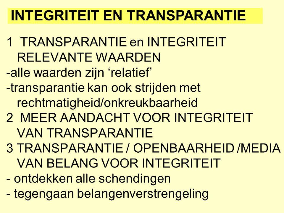 1 TRANSPARANTIE en INTEGRITEIT RELEVANTE WAARDEN -alle waarden zijn 'relatief' -transparantie kan ook strijden met rechtmatigheid/onkreukbaarheid 2 ME
