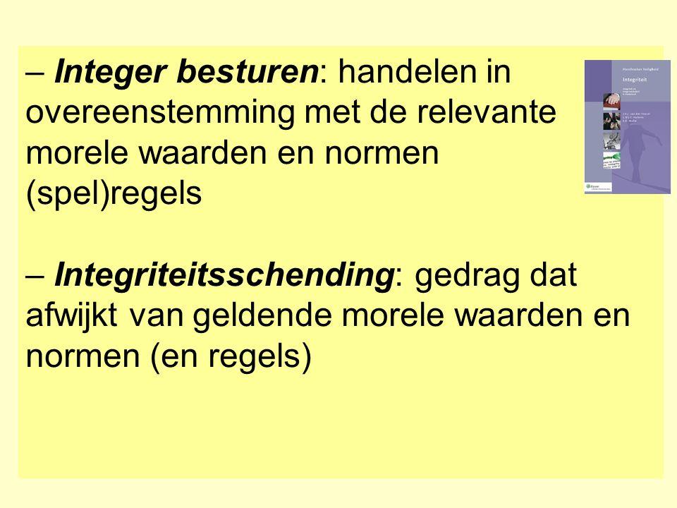 – Integer besturen: handelen in overeenstemming met de relevante morele waarden en normen (spel)regels – Integriteitsschending: gedrag dat afwijkt van