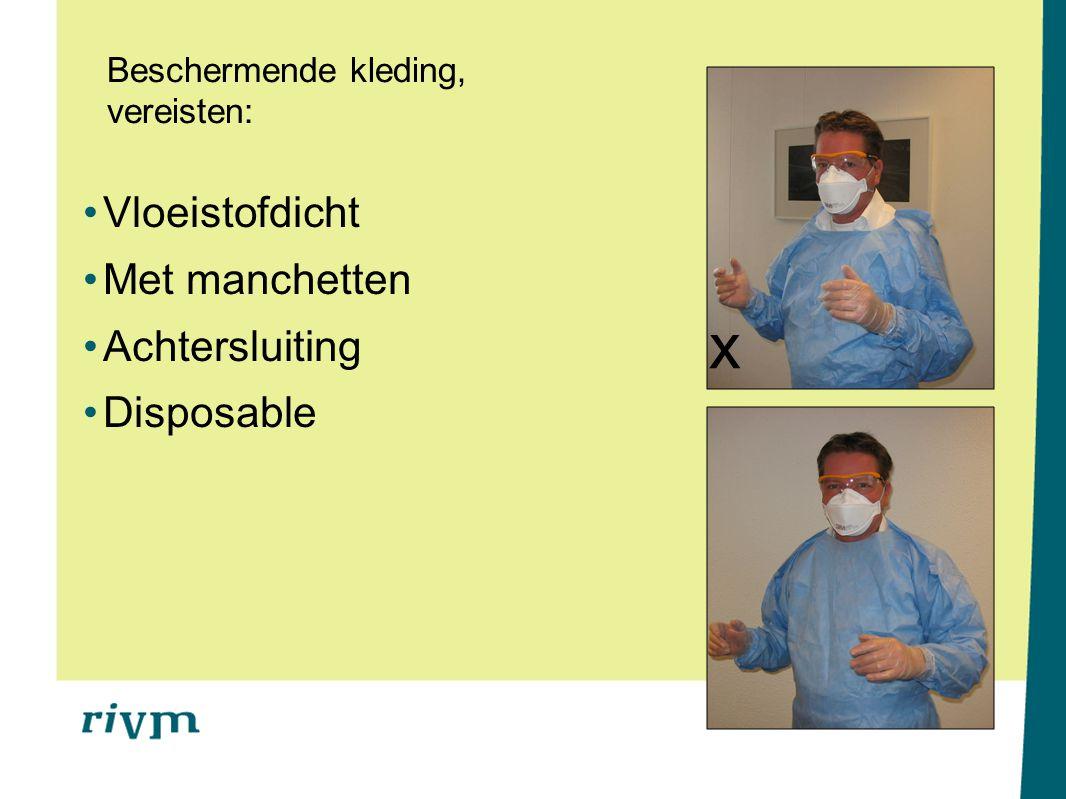Beschermende kleding, vereisten: Vloeistofdicht Met manchetten Achtersluiting Disposable x