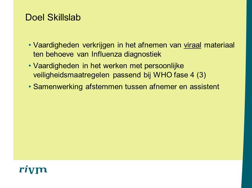 Doel Skillslab Vaardigheden verkrijgen in het afnemen van viraal materiaal ten behoeve van Influenza diagnostiek Vaardigheden in het werken met persoo