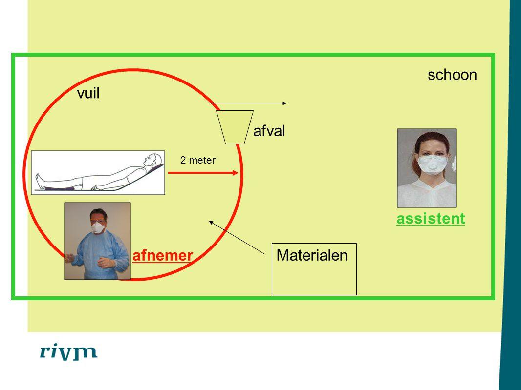Stap 7: Handen wassen afnemer & assistent Ruim water en zeep & desinfectie met handenalcohol De afname in 7 stappen