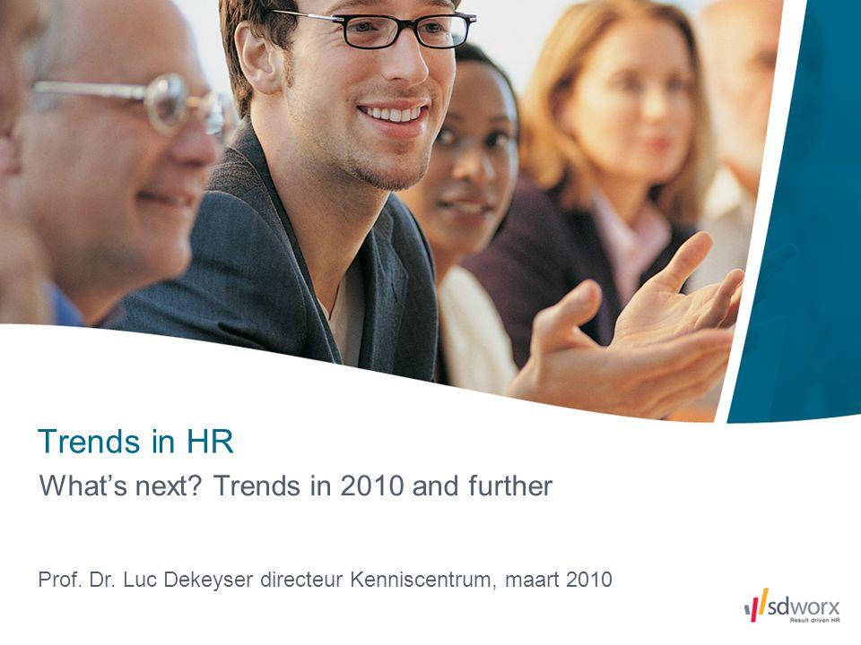 2 2008: Hr in Europa; Issues voor 2010 Onderzoek SD Worx dd 2008: 240 Europese hr-verantwoordelijken : Conclusie: -Er bestaat niet iets zoals 'één gemeenschappelijk europees hr-model' => duidelijke verschillen vastgesteld tussen regio's -Resultaat van hr-actiedomeinen destijds voor 2008 - 2010: 1.Tekort aan arbeidskrachten (waf for talent) 2.Change management 3.HR strategie 4.Reward en loonkostbeheersing 5.Leadership development