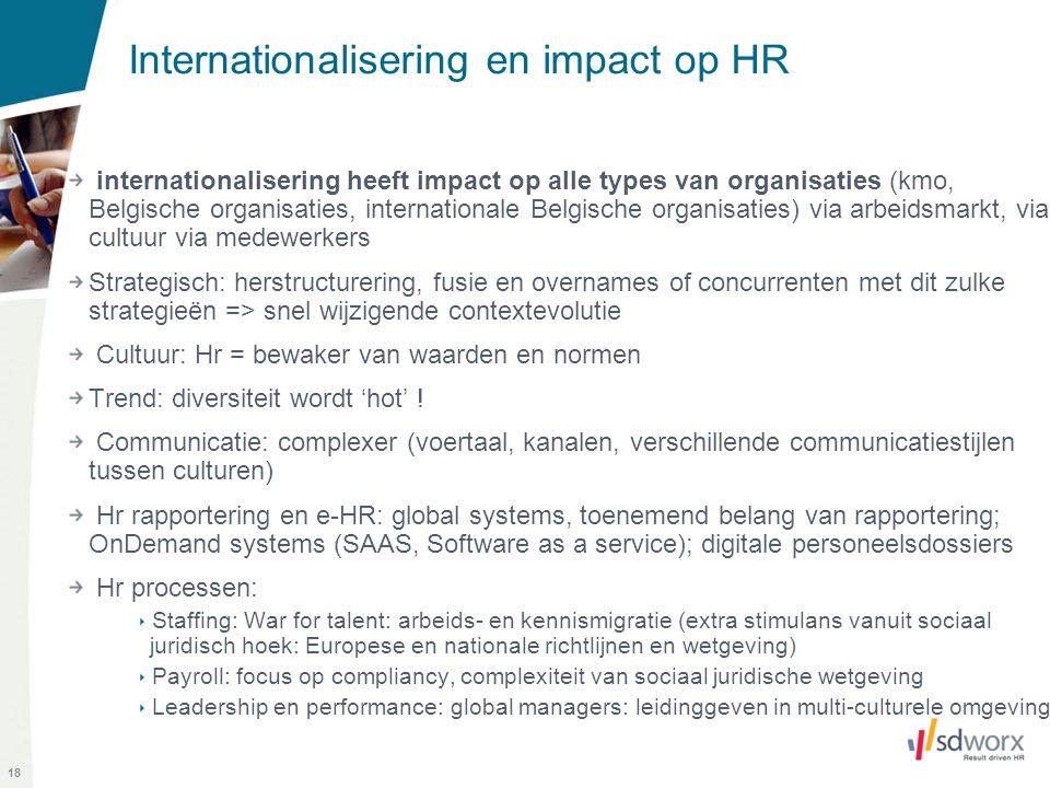18 Internationalisering en impact op HR internationalisering heeft impact op alle types van organisaties (kmo, Belgische organisaties, internationale