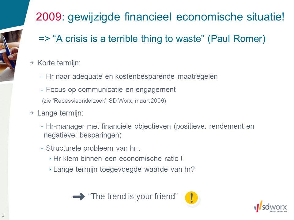 """3 2009: gewijzigde financieel economische situatie! => """"A crisis is a terrible thing to waste"""" (Paul Romer) Korte termijn: - Hr naar adequate en koste"""
