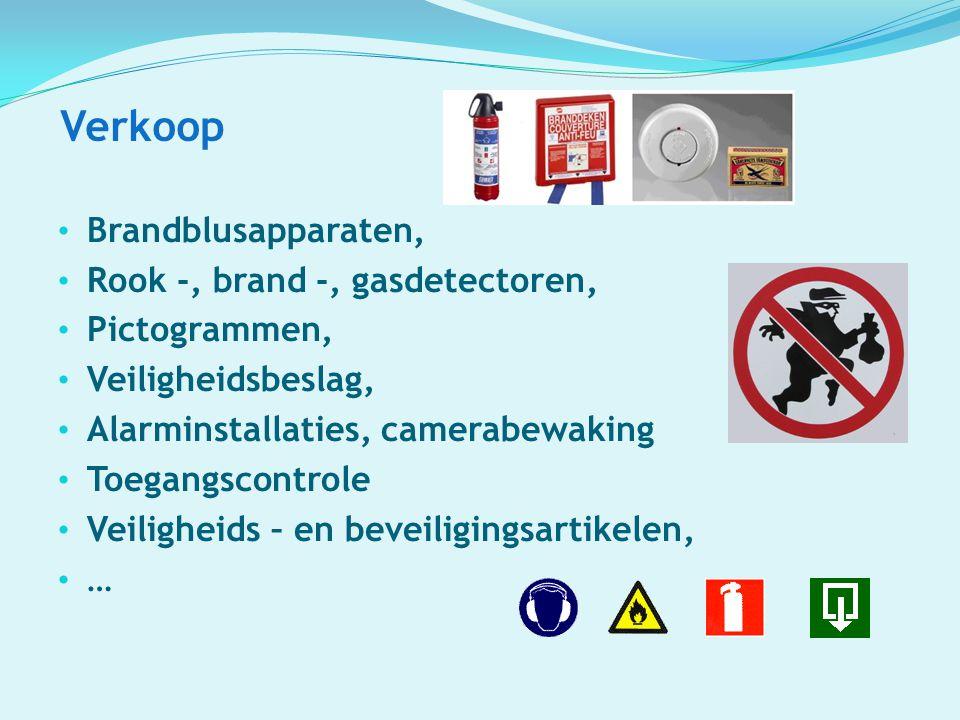 Verkoop Brandblusapparaten, Rook -, brand -, gasdetectoren, Pictogrammen, Veiligheidsbeslag, Alarminstallaties, camerabewaking Toegangscontrole Veilig
