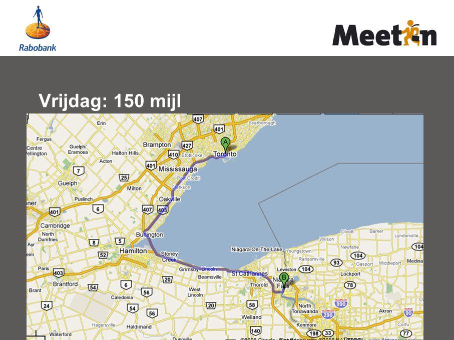 Vrijdag: 150 mijl
