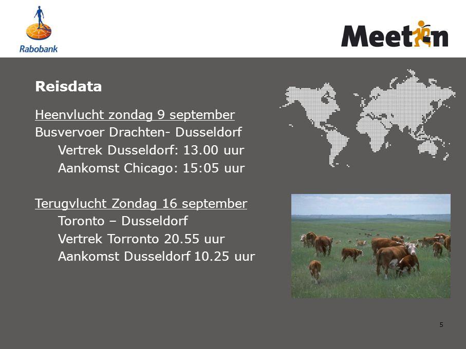 5 Reisdata Heenvlucht zondag 9 september Busvervoer Drachten- Dusseldorf Vertrek Dusseldorf: 13.00 uur Aankomst Chicago: 15:05 uur Terugvlucht Zondag