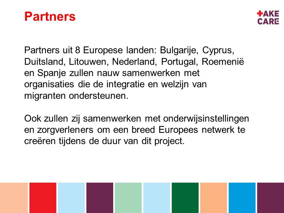 inhoud Partners Partners uit 8 Europese landen: Bulgarije, Cyprus, Duitsland, Litouwen, Nederland, Portugal, Roemenië en Spanje zullen nauw samenwerken met organisaties die de integratie en welzijn van migranten ondersteunen.