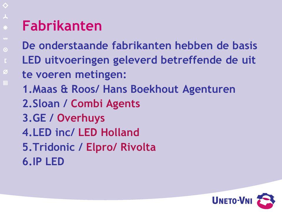 Fabrikanten De onderstaande fabrikanten hebben de basis LED uitvoeringen geleverd betreffende de uit te voeren metingen: 1.Maas & Roos/ Hans Boekhout Agenturen 2.Sloan / Combi Agents 3.GE / Overhuys 4.LED inc/ LED Holland 5.Tridonic / Elpro/ Rivolta 6.IP LED