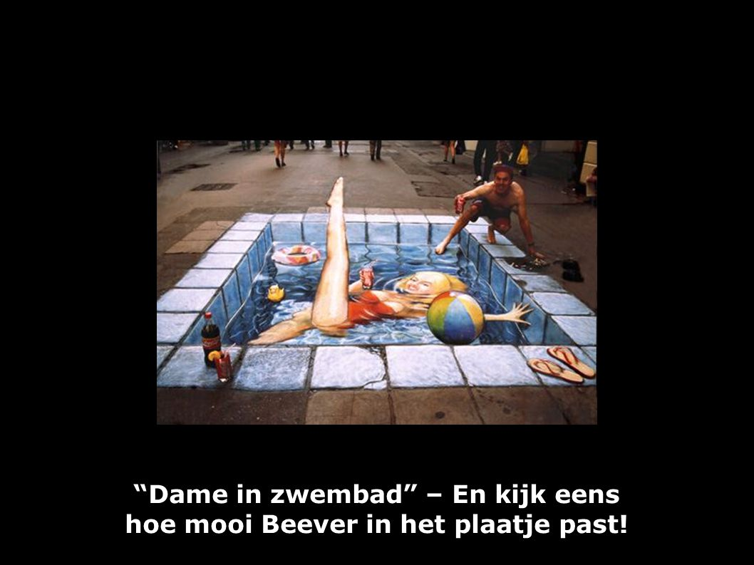 """""""Dame in zwembad"""" – En kijk eens hoe mooi Beever in het plaatje past!"""