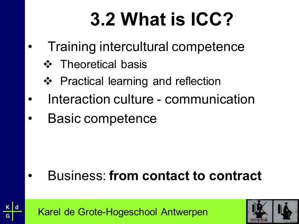Karel de Grote-Hogeschool Antwerpen 3.2 What is ICC.