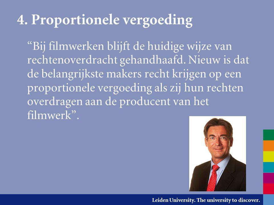 """Leiden University. The university to discover. 4. Proportionele vergoeding """"Bij filmwerken blijft de huidige wijze van rechtenoverdracht gehandhaafd."""