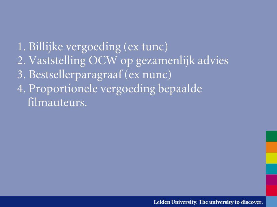 Leiden University. The university to discover. 1. Billijke vergoeding (ex tunc) 2. Vaststelling OCW op gezamenlijk advies 3. Bestsellerparagraaf (ex n