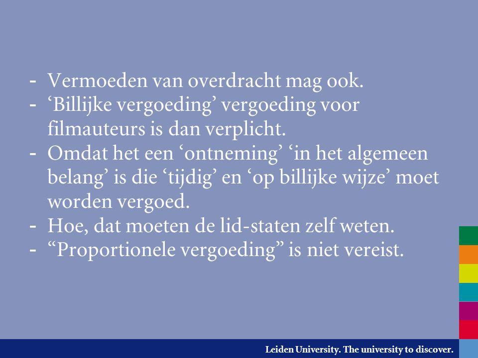 Leiden University. The university to discover. - Vermoeden van overdracht mag ook. - 'Billijke vergoeding' vergoeding voor filmauteurs is dan verplich