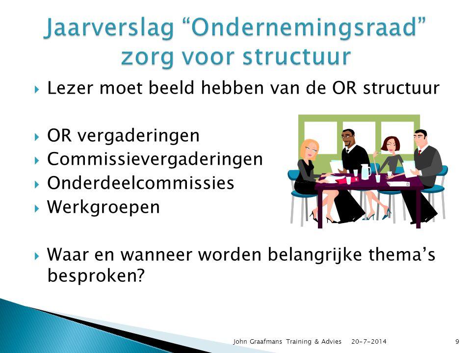  Lezer moet beeld hebben van de OR structuur  OR vergaderingen  Commissievergaderingen  Onderdeelcommissies  Werkgroepen  Waar en wanneer worden