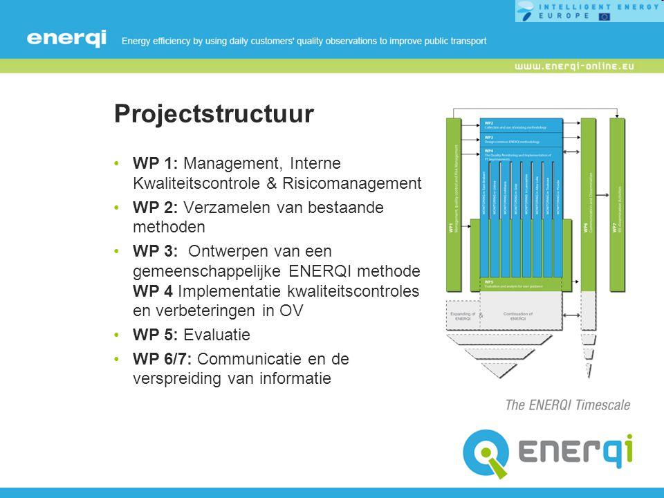 Projectstructuur WP 1: Management, Interne Kwaliteitscontrole & Risicomanagement WP 2: Verzamelen van bestaande methoden WP 3: Ontwerpen van een gemeenschappelijke ENERQI methode WP 4 Implementatie kwaliteitscontroles en verbeteringen in OV WP 5: Evaluatie WP 6/7: Communicatie en de verspreiding van informatie