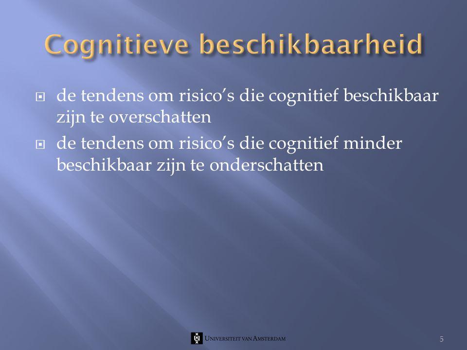  de tendens om risico's die cognitief beschikbaar zijn te overschatten  de tendens om risico's die cognitief minder beschikbaar zijn te onderschatten 5