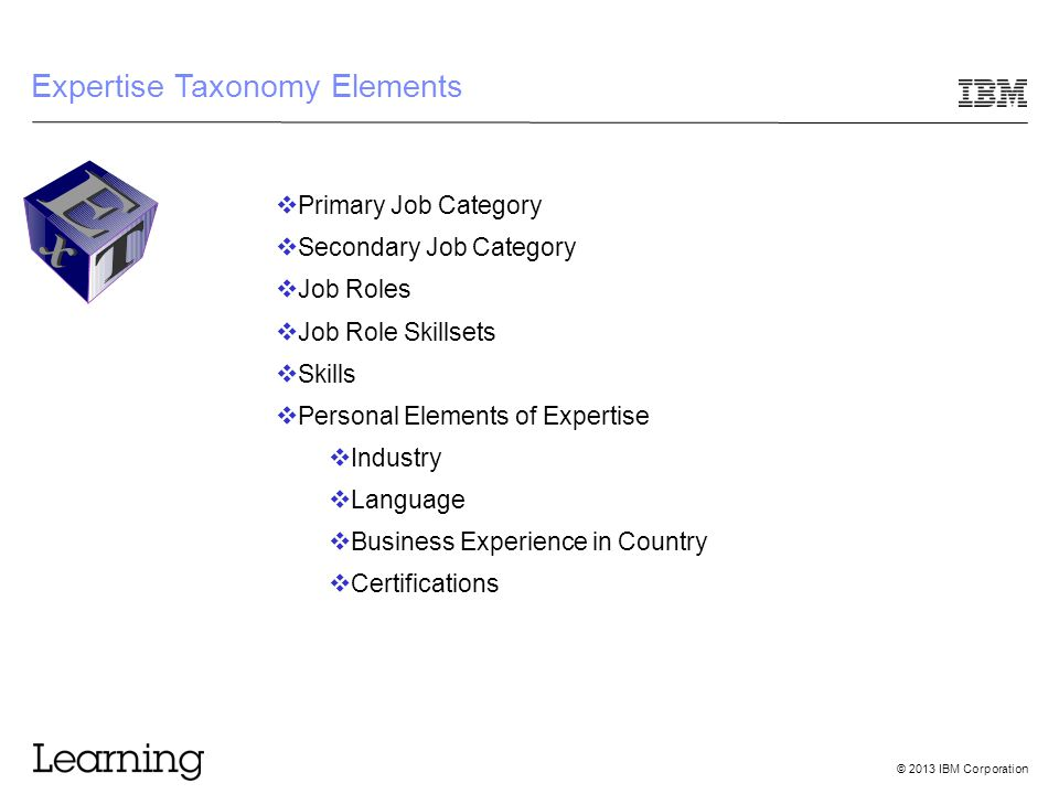 © 2013 IBM Corporation Expertise Taxonomy Elements  Primary Job Category  Secondary Job Category  Job Roles  Job Role Skillsets  Skills  Personal Elements of Expertise  Industry  Language  Business Experience in Country  Certifications