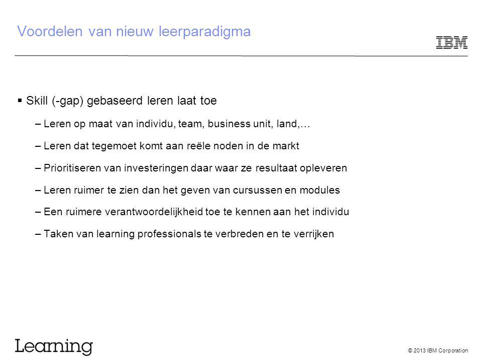© 2013 IBM Corporation Voordelen van nieuw leerparadigma  Skill (-gap) gebaseerd leren laat toe –Leren op maat van individu, team, business unit, lan